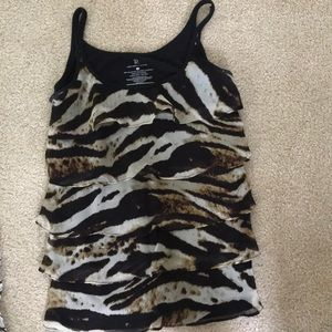 Layered ruffled cheetah print tank top